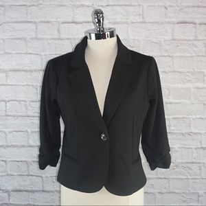 Matty M Black Scrunched Sleeve Blazer Jacket